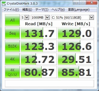 FMV-BIBLO NF50WN CrystalDiskMarkCPU交換後