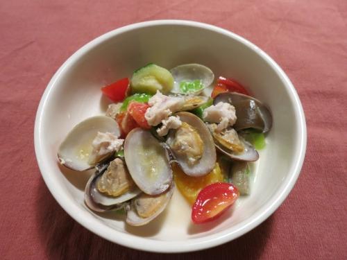 夜ご飯 あさりの豆乳スープ
