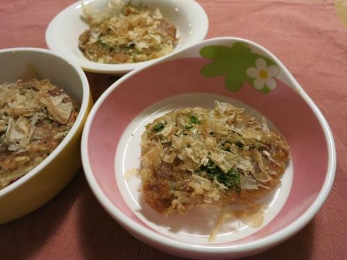 夜ご飯 お豆腐と豚肉のお好み焼き:牛革ガム