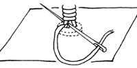 7、玉止めを糸足の中に隠す