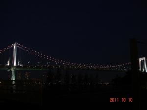 品川埠頭から望むレインボーブリッジ