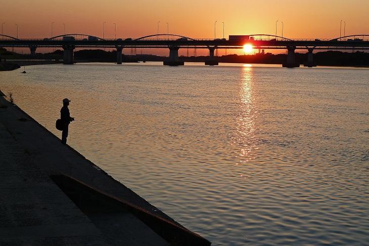 枚方大橋の夕日 2
