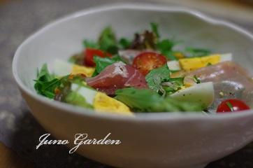 サラダ水菜と生ハム