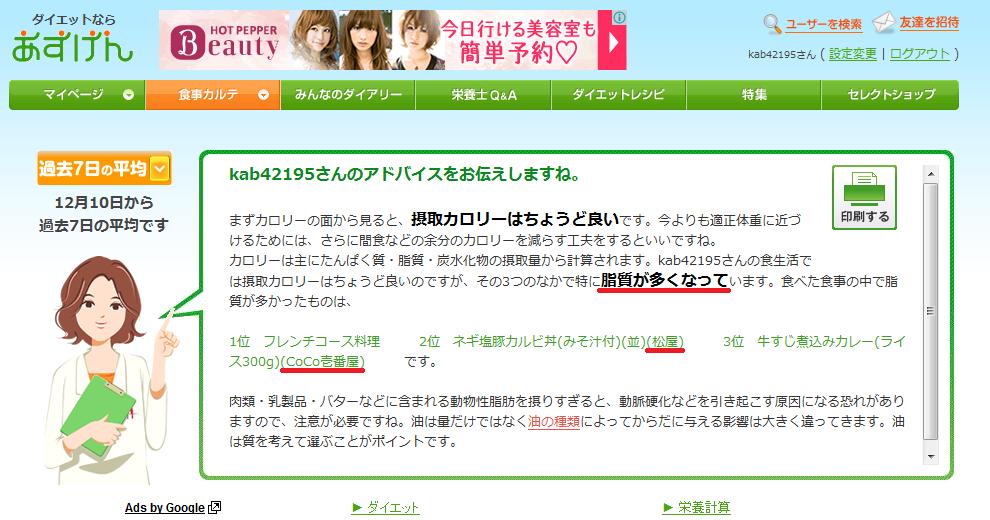 あすけん20131210 その1