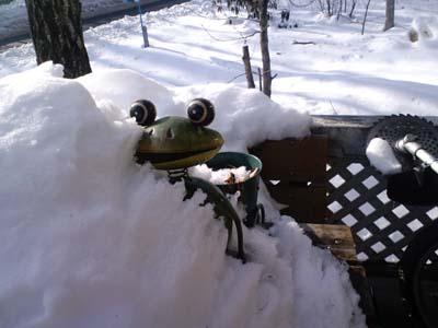 雪に埋もれたケロチャン