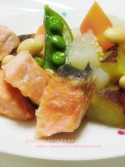 生鮭と根菜の煮物♪