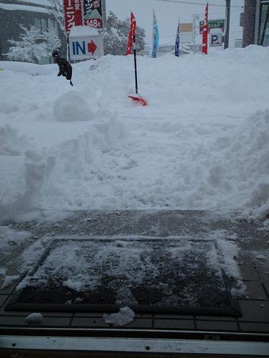 店の雪かき