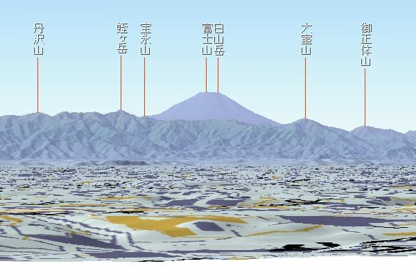 文京区から富士山 カシミール3D使用