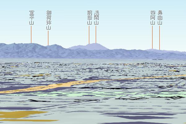 文京区から浅間山 カシミール3D使用