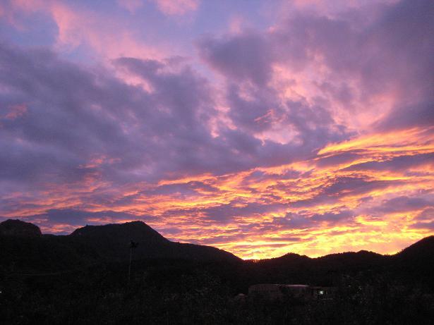 有珠山と夕焼
