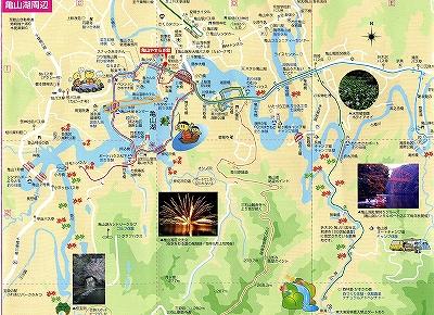 亀山湖の地図拡大 電動ボート遊び