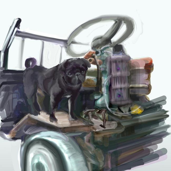 農民車とパグ中途