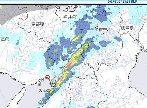 雨雲Xバンド 2013年11月27日18時58分c