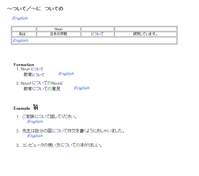 3級 文法 ~について