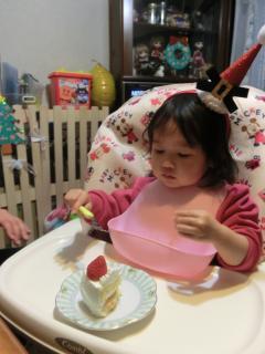 クリスマスケーキ目の前