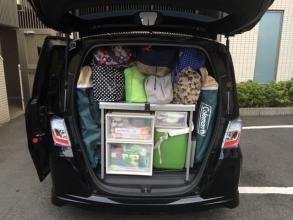 キャンプ道具の車内収納システム