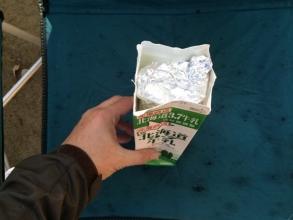 牛乳パックでホットサンドを作る