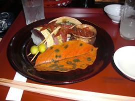 いくら出し漬け水菜と鯖寿司ぎんなん