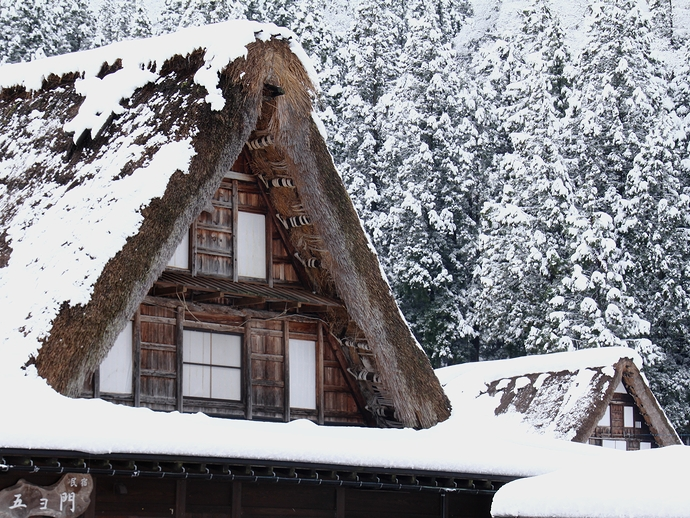 冬の相倉合掌集落 雪と伝統的家屋