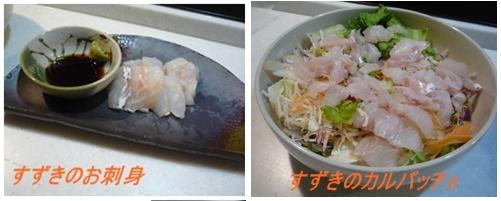 スズキ(刺身とカルパッチョ)