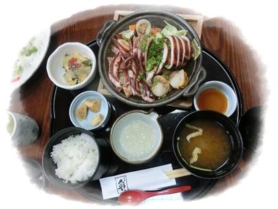 250414くらや(イカとほたての鉄板焼き定食)
