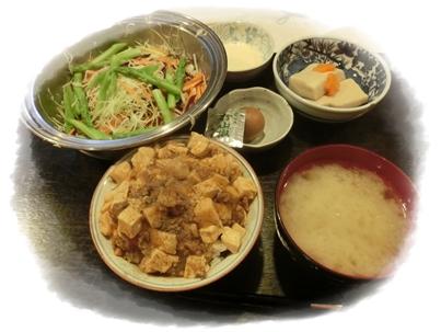 250622サラダとマーボー豆腐丼