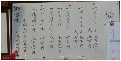 中華そば(長兵衛)4(価格表)