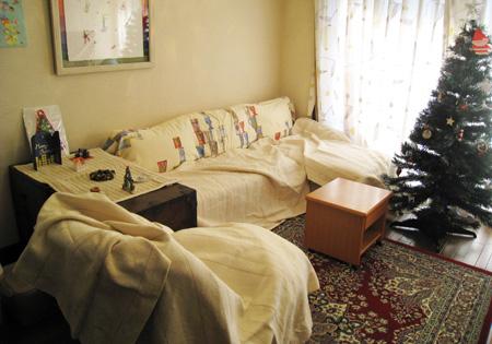 カバーをかけた家具