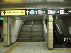 九段下駅新宿線ホーム神保町寄り階段