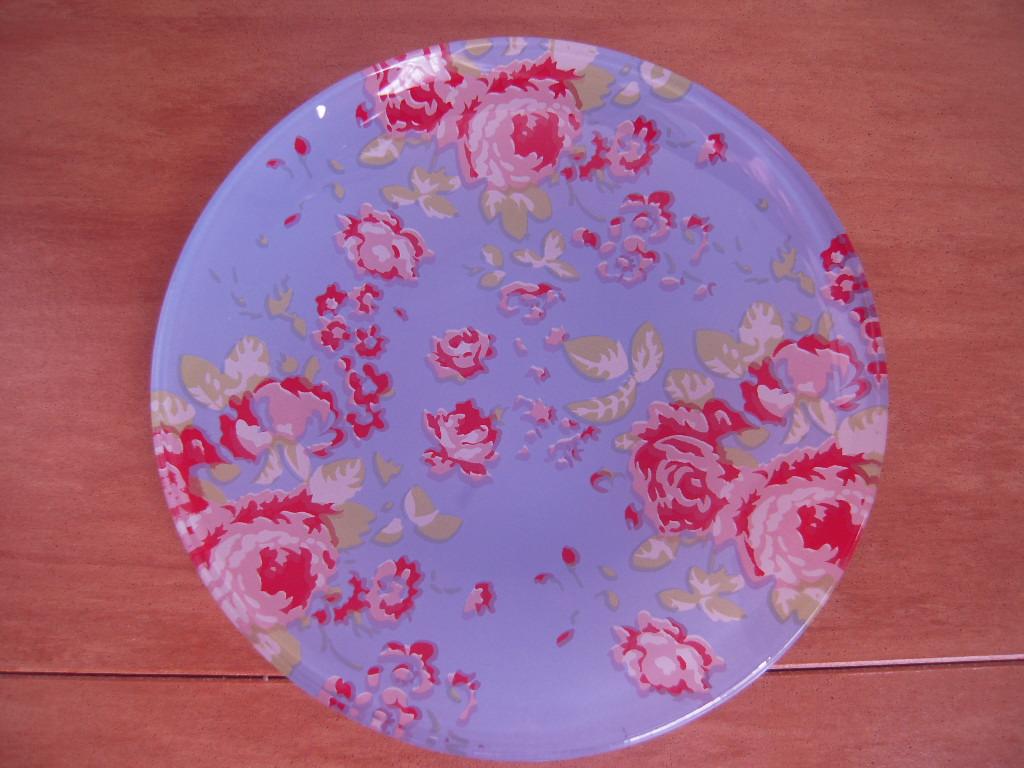 シルクの花柄ガラス皿(丸皿)☆ 2