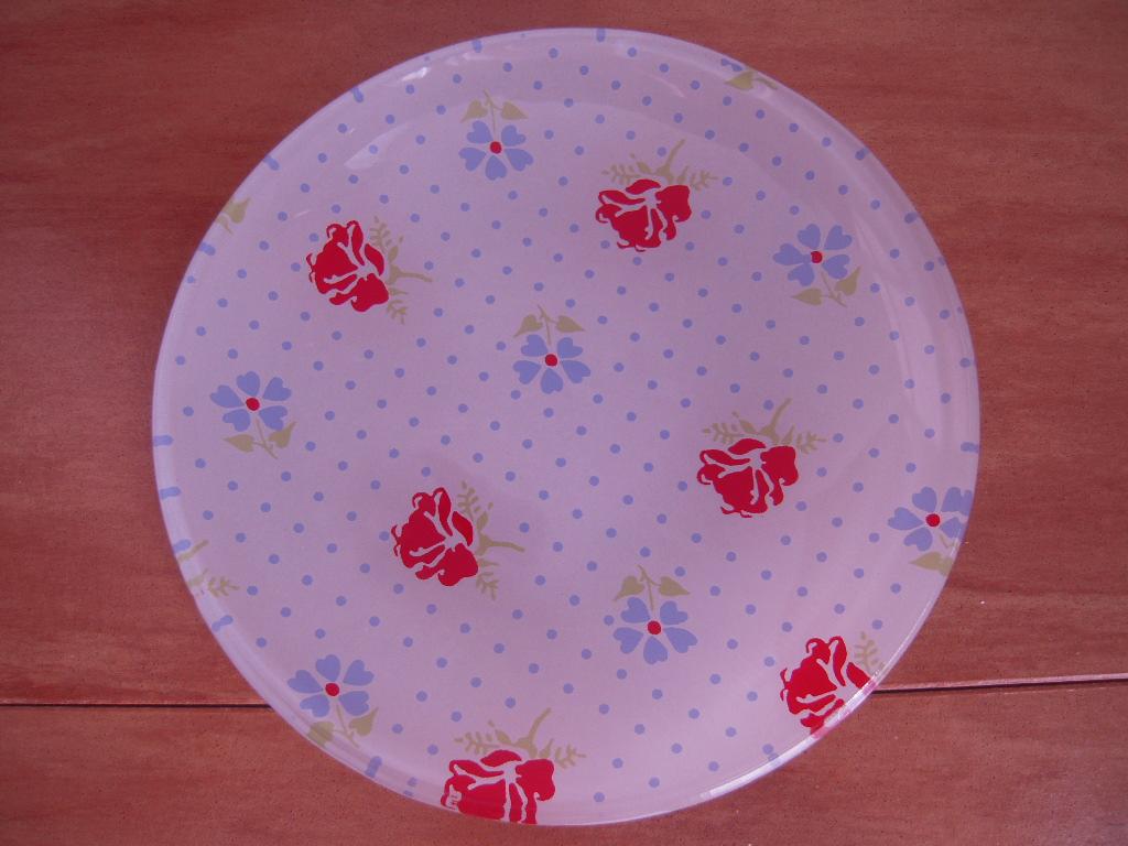 シルクの花柄ガラス皿(丸皿)☆ 3