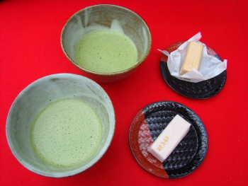 お抹茶と干菓子@大河内山荘