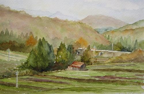 車窓から秋の風景 蒜山