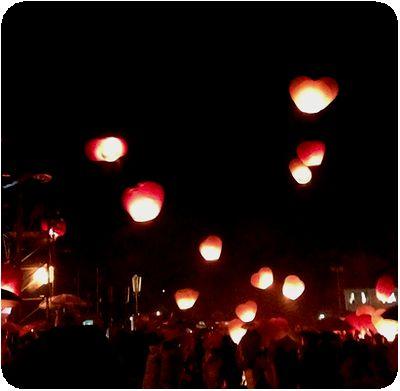 平渓天灯祭り2上がり始め