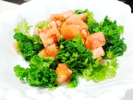 プチベールとわさび菜トマトのサラダ