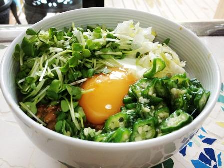 お野菜どっさり納豆ねばねば丼