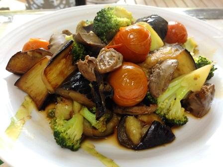 レバーと夏野菜の生姜醤油