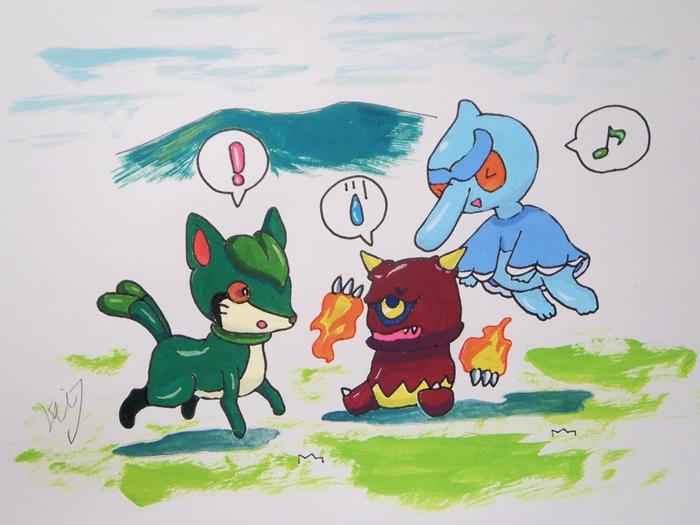 戯れる三大悪妖怪