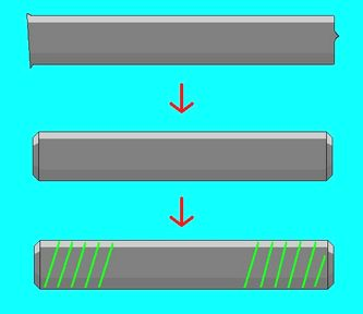 ランナーの両端を整形