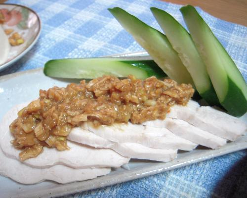 130715茹で鶏と鶏味噌