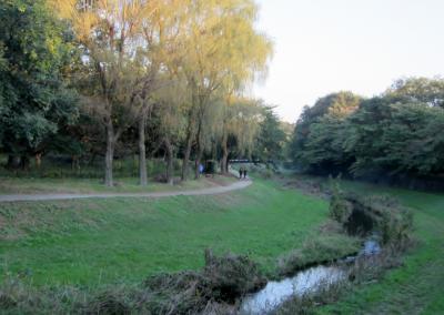 都立野川公園 自然観察園 おじさんがクロスバイク