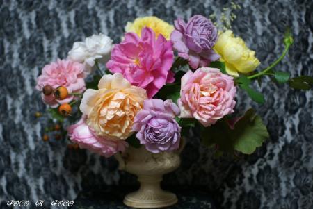 頂いたお花とウチのお花のコラボ♪