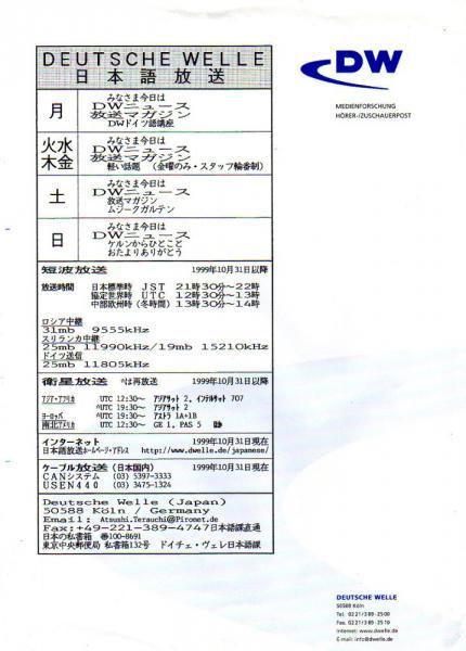 1999年10月 ドイチェ・ヴェレ(ドイツ) 日本語放送番組表