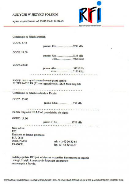 Radio France Internationale(フランス) 1995年夏季 ポーランド語放送スケジュール表