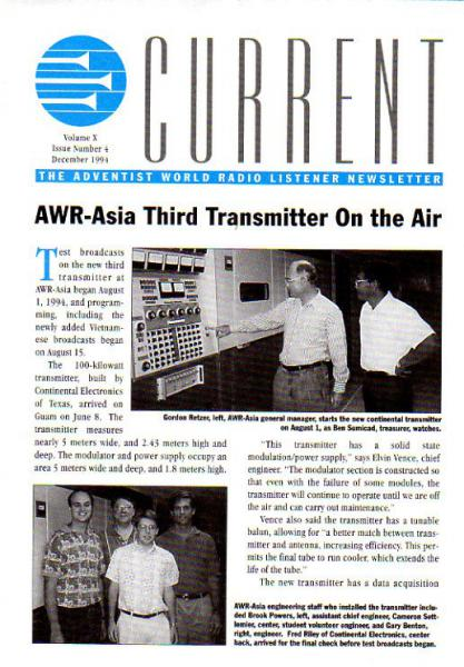 AWR CURRENT Volume X, Issue Number 4 December 1994