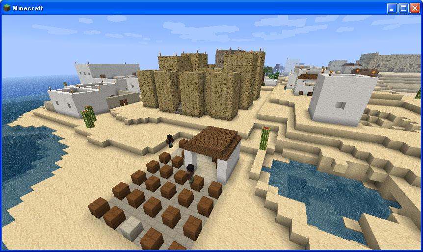 木の屋根の建物もあるのですが、やはり「砂漠っぽい」建物ですね。 さすがに造りの名称までは詳しくないので(合掌造りとかそういう) 個人的「砂漠の建物っぽい」を