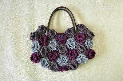 毛糸花バッグ紫-2