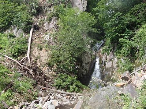 連瀑帯の高巻き開始