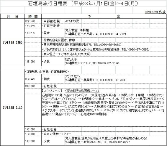 日程表1:石垣島観光(叔父)