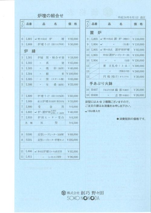 創巧野々田製品改正価格表2